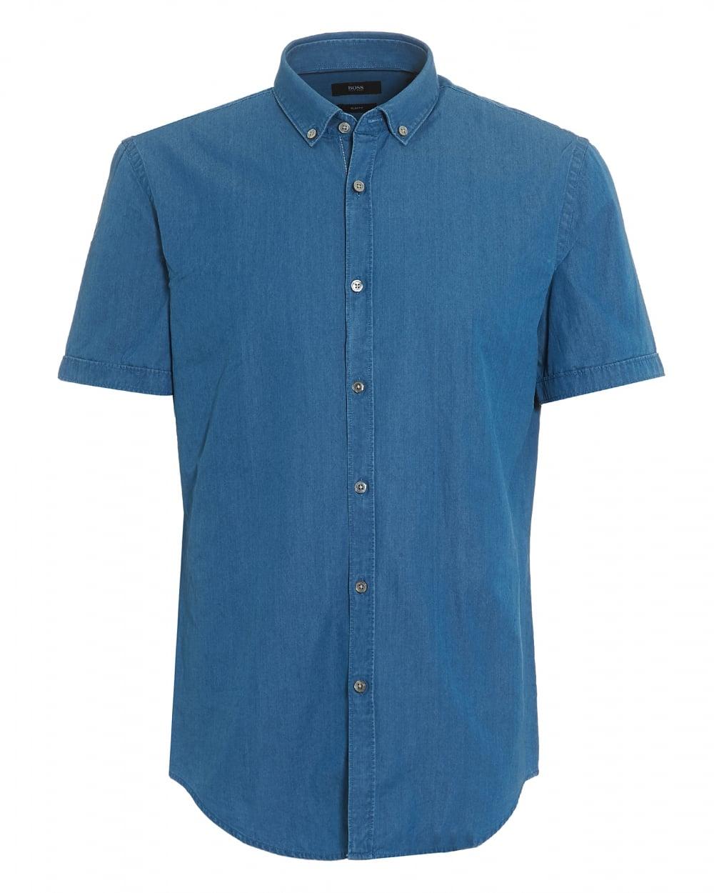 41d3ffb1e2 Hugo Boss Black Mens Rik Short Sleeve Blue Chambray Shirt