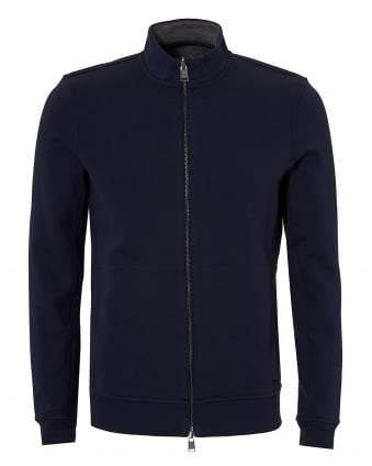 Mens Scavo Reversible Zip Sweat, Navy Grey Reverse Jumper