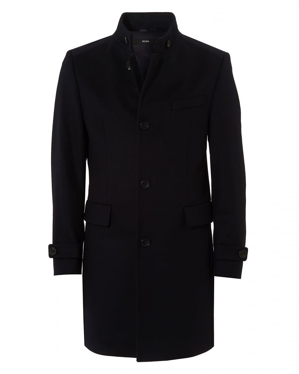 07cdf7e6fff Mens Sintrax2 Nehru Collar Wool Cashmere Navy Blue Coat