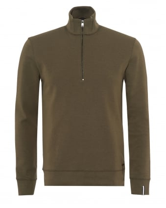 Mens Slegal Jumper, Half Zip Contrast Lining Olive Green Navy Blue Sweat