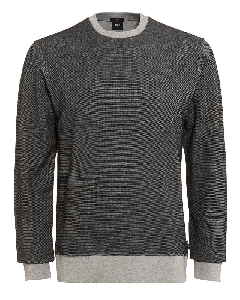 053581b5f Hugo Boss Black Mens Sweatshirt Skubic 04 Two-Tone Grey Slim Fit Sweat