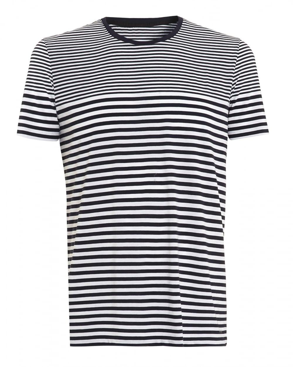 b51227bf0 Hugo Boss Black Mens Tesser 49-WS T-Shirt, Striped Navy White Tee