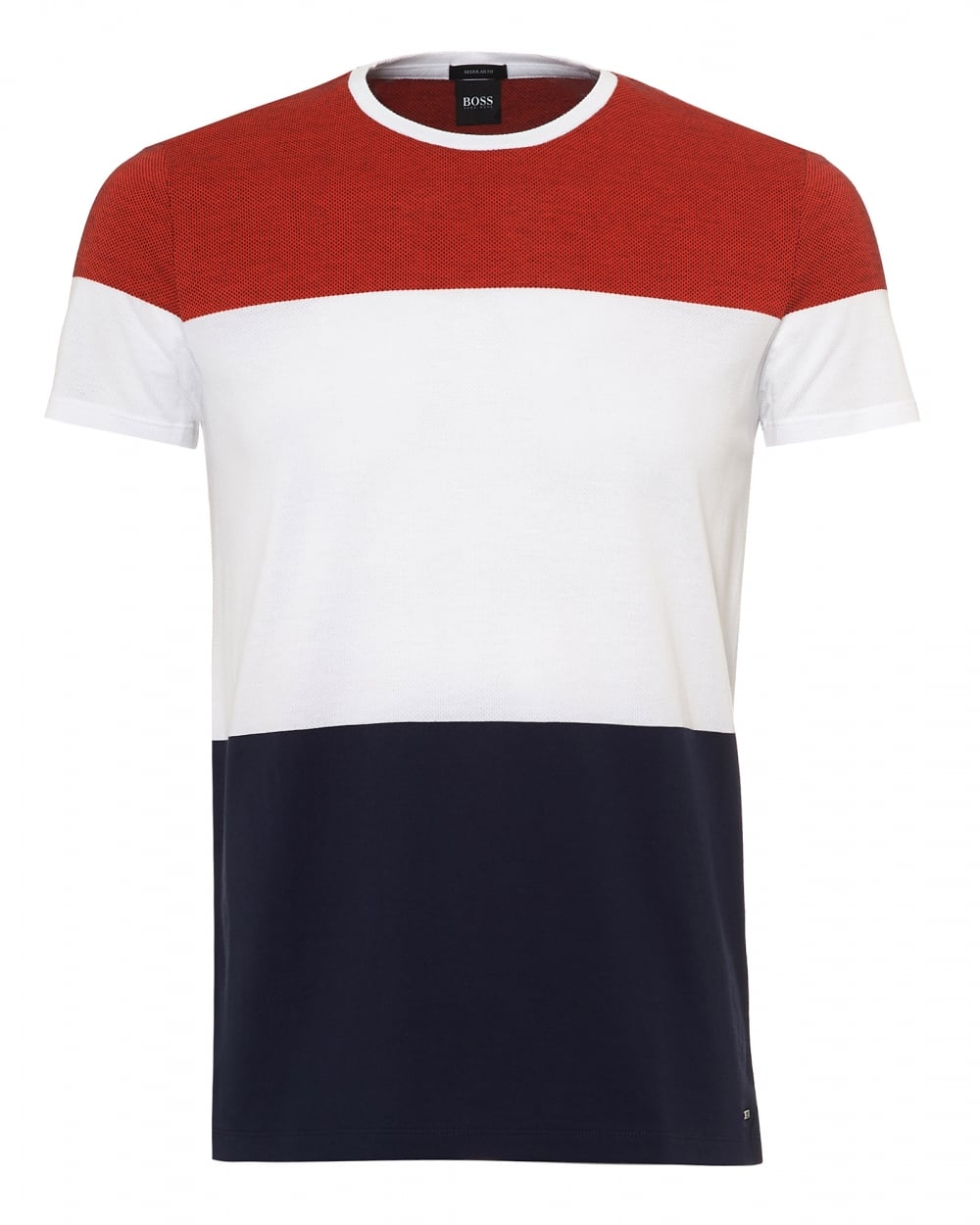 75ce7dd61 Hugo Boss Black Mens Tiburt T-Shirt, Orange White Navy Blue Tee