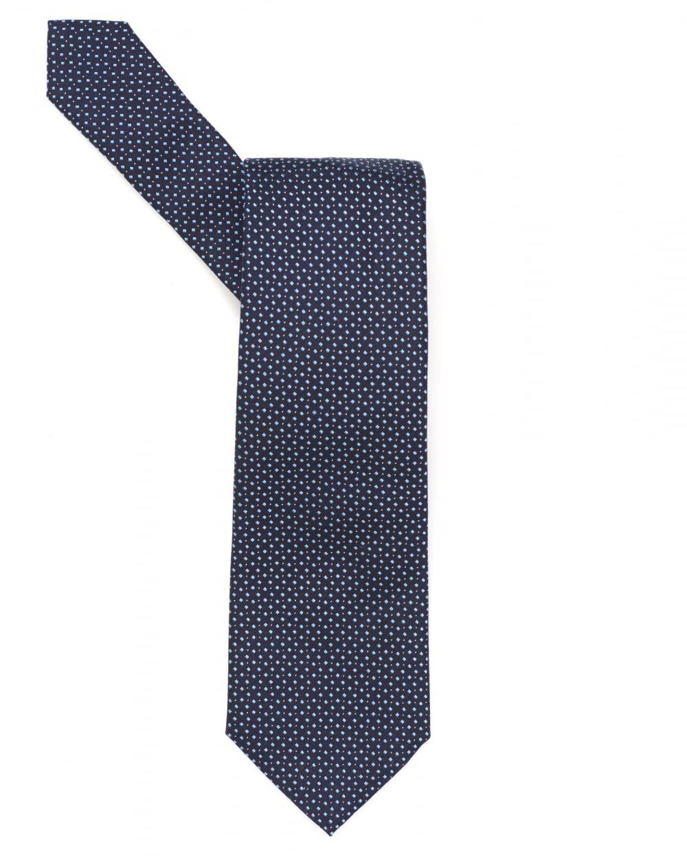 b66a7c036394 Hugo Boss Classic Mens Tie, Slatted Geometric Navy Sky Silk Tie