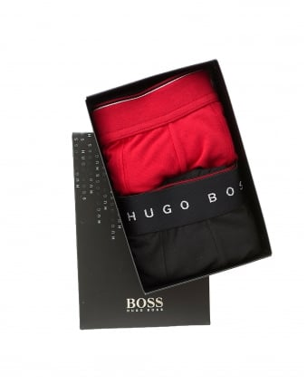 Mens Trunk 2P Gift Box Underwear, Red Black Boxer Shorts