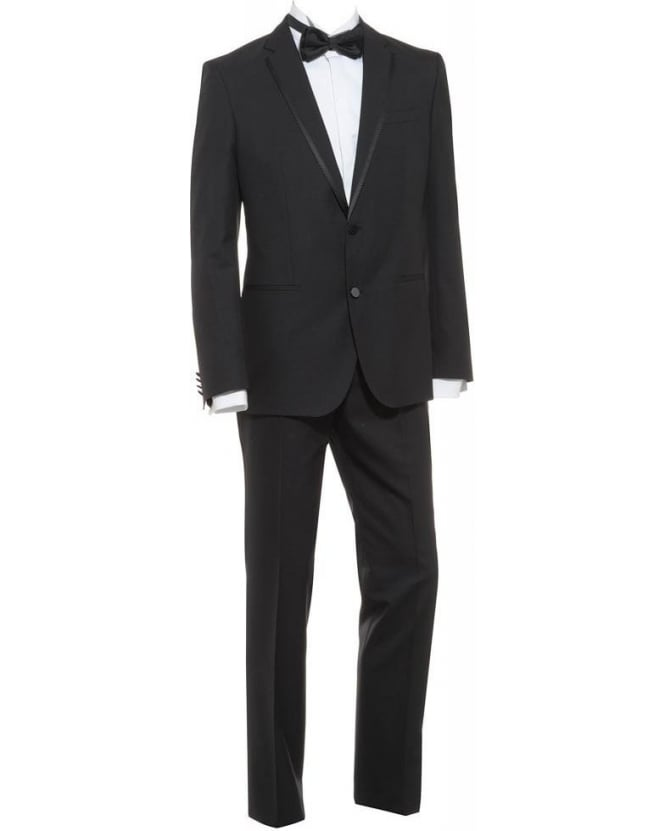 BOSS Suit Black Silk Wool Slim Fit Herold Gino Dinner Suit