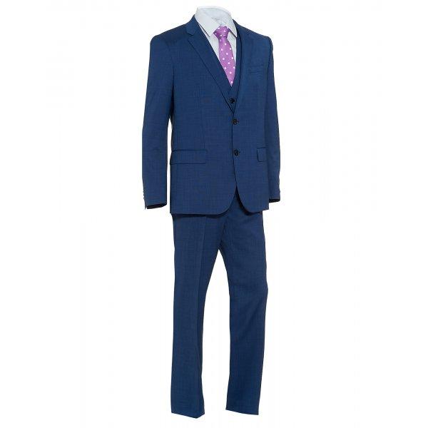 f76a75193 Hugo Boss Black Three Piece 'Huge3 Genius2' Mid Blue Super 120 Suit