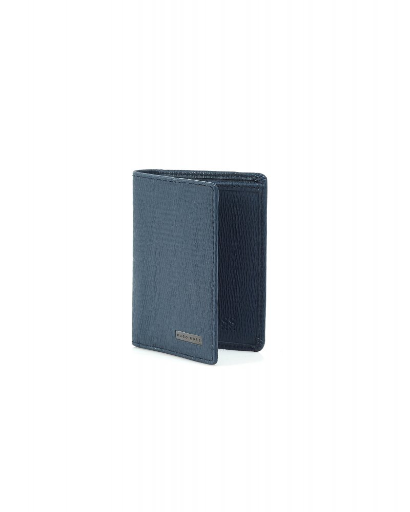 Hugo Boss Black \'Tress\' Navy Double Card Holder Leather Wallet