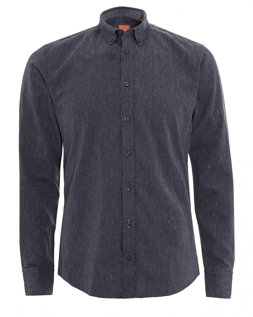efb8c0429 Hugo Boss Orange Mens Edipoe Shirt, Denim Blue Slim Fit Shirt