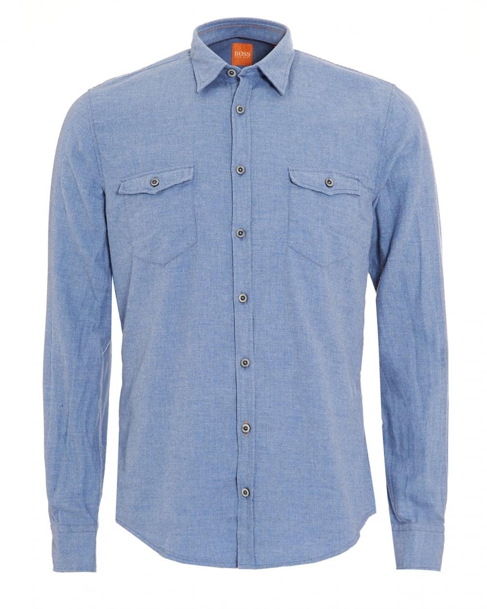 1c16edb473f Hugo Boss Orange Mens EdoslimE Sky Blue Slim Fit Shirt