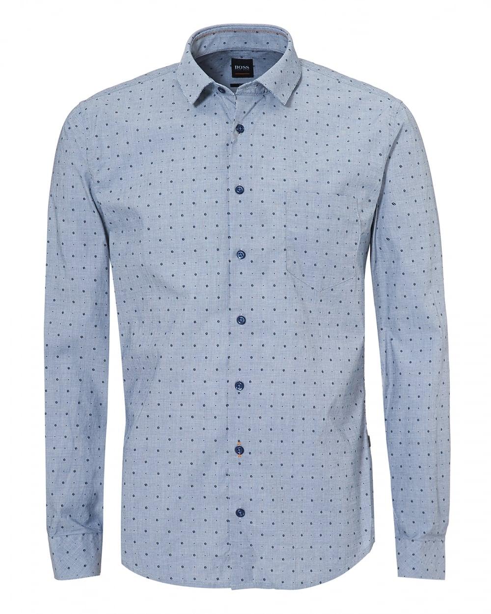 f4a714fc50 Hugo Boss Orange Mens Epop-1 Sky Navy Blue Long Sleeve Slim Fit Shirt