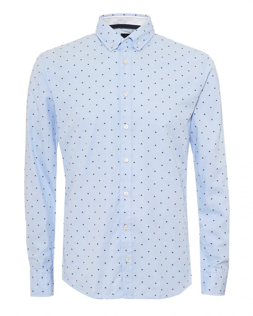 cheap sale latest style best prices Mens Epreppy Shirt, All Over Small Star Print Sky Blue Shirt