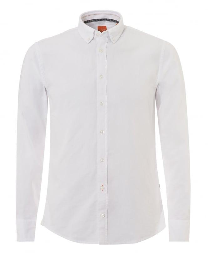 BOSS Mens Epreppy Shirt, Slim Fit White Cotton Shirt