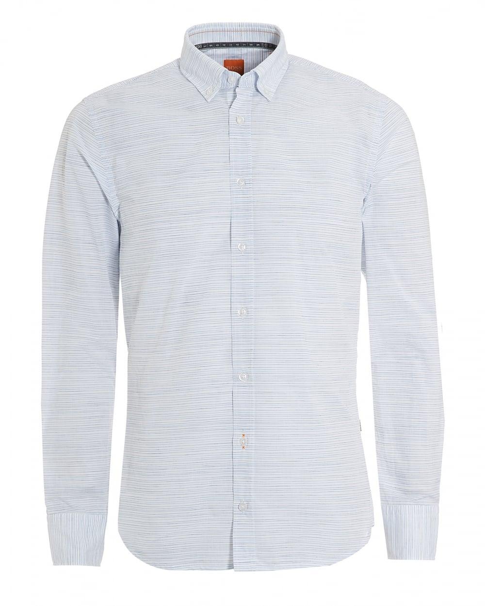 6176be630 Hugo Boss Orange Mens Epreppy Slim Fit Irregular Stripe White Shirt