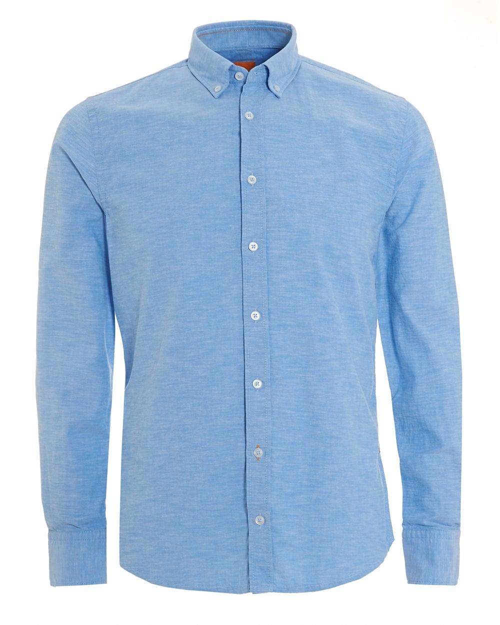 Hugo boss orange mens epreppy slim fit sky blue oxford shirt for Mens blue oxford shirt