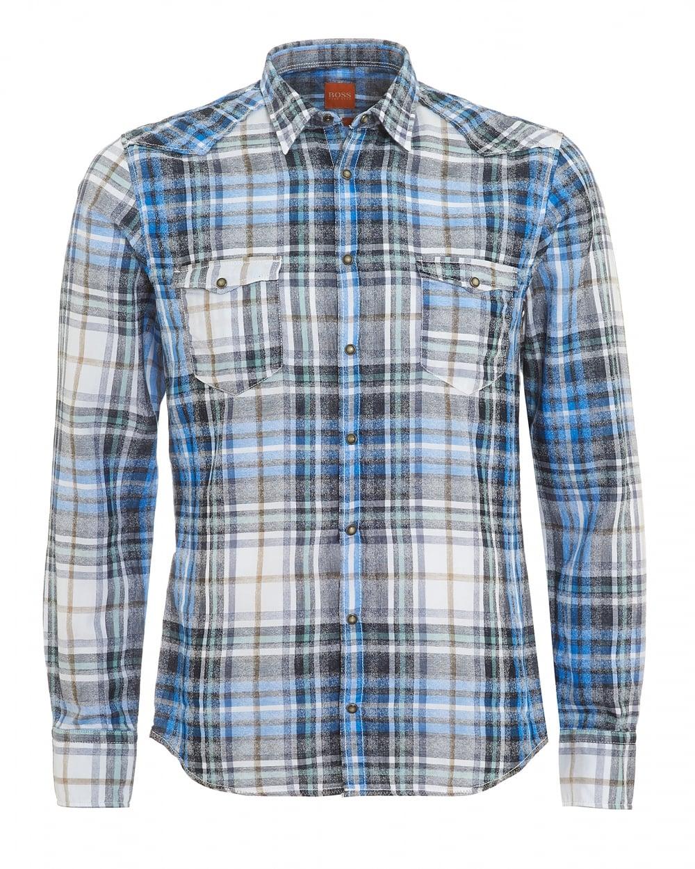 d7905d19b Hugo Boss Orange Mens Erodeo Slim Fit Western Checked Blue Shirt