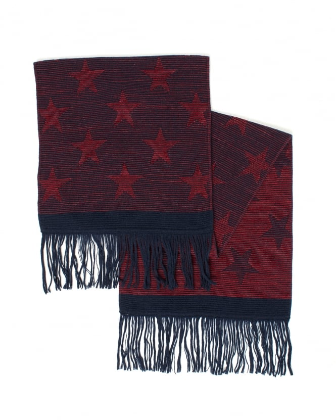 BOSS Mens Kayst Red Star Scarf