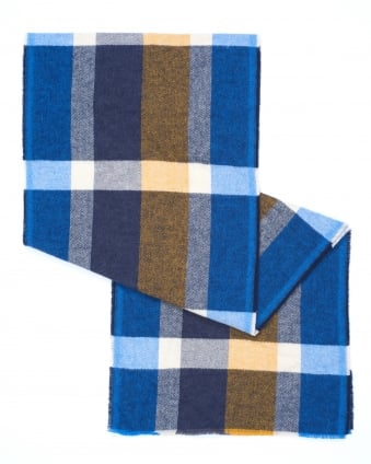 Mens Nuse All Over Large Check Navy Scarf