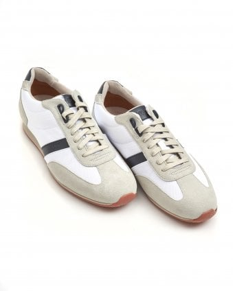 Mens Orland_Lowp_sdny1 Trainers, Suede Leather White Sneakers