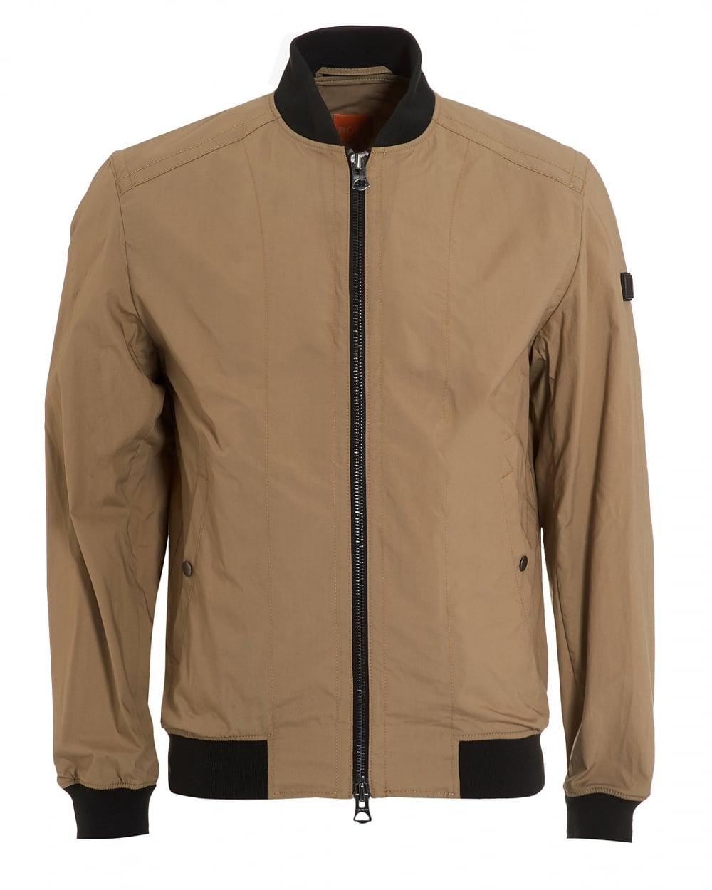 ec3e5cca8 Hugo Boss Orange Mens Oruce Bomber, Contrast Collar Beige Jacket