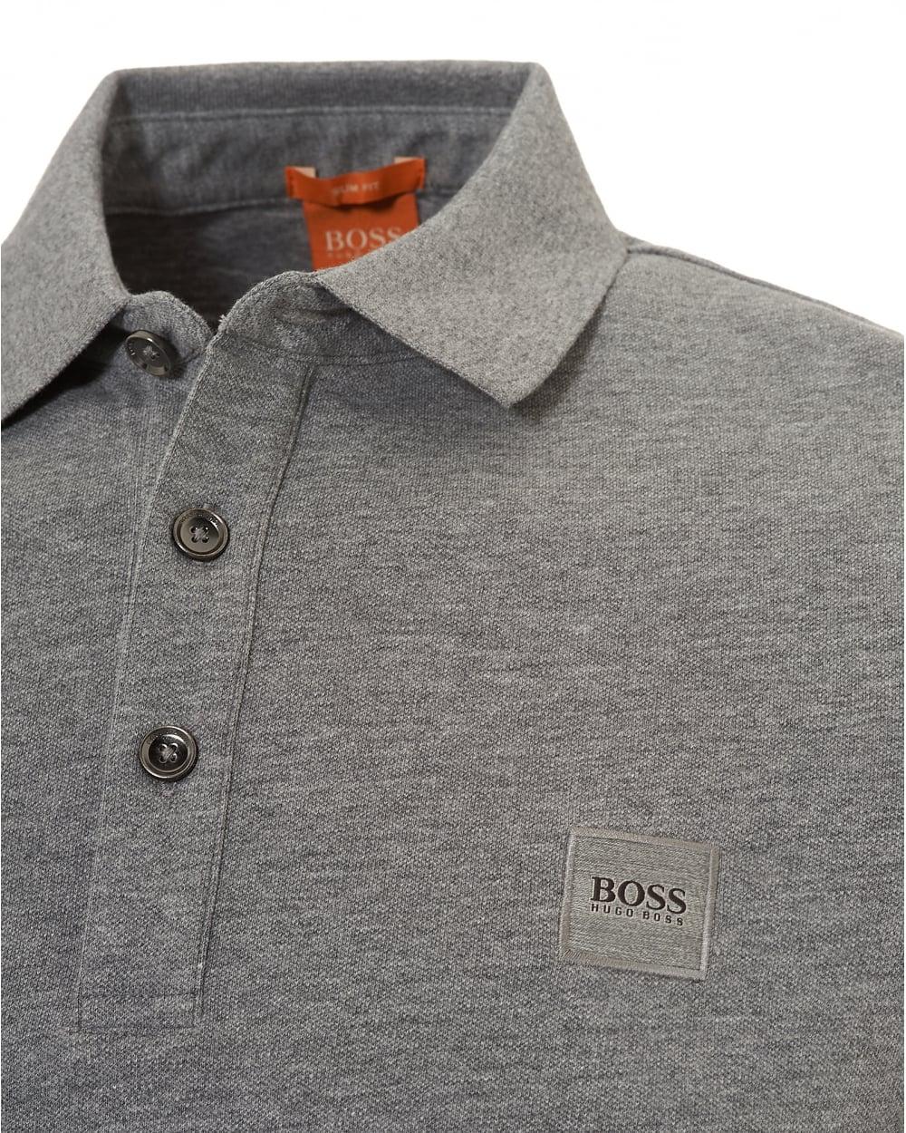 Boss Mens Paulyn Polo Shirt Long Sleeved Pima Cotton Grey Polo