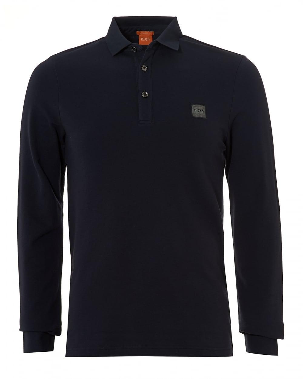 Hugo boss orange mens paulyn long sleeved pima cotton navy for Mens long sleeve casual cotton shirts