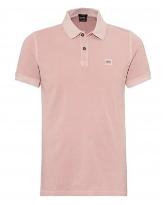 Mens Prime Polo Shirt, Slim Fit Chest Badge Washed Pink Polo