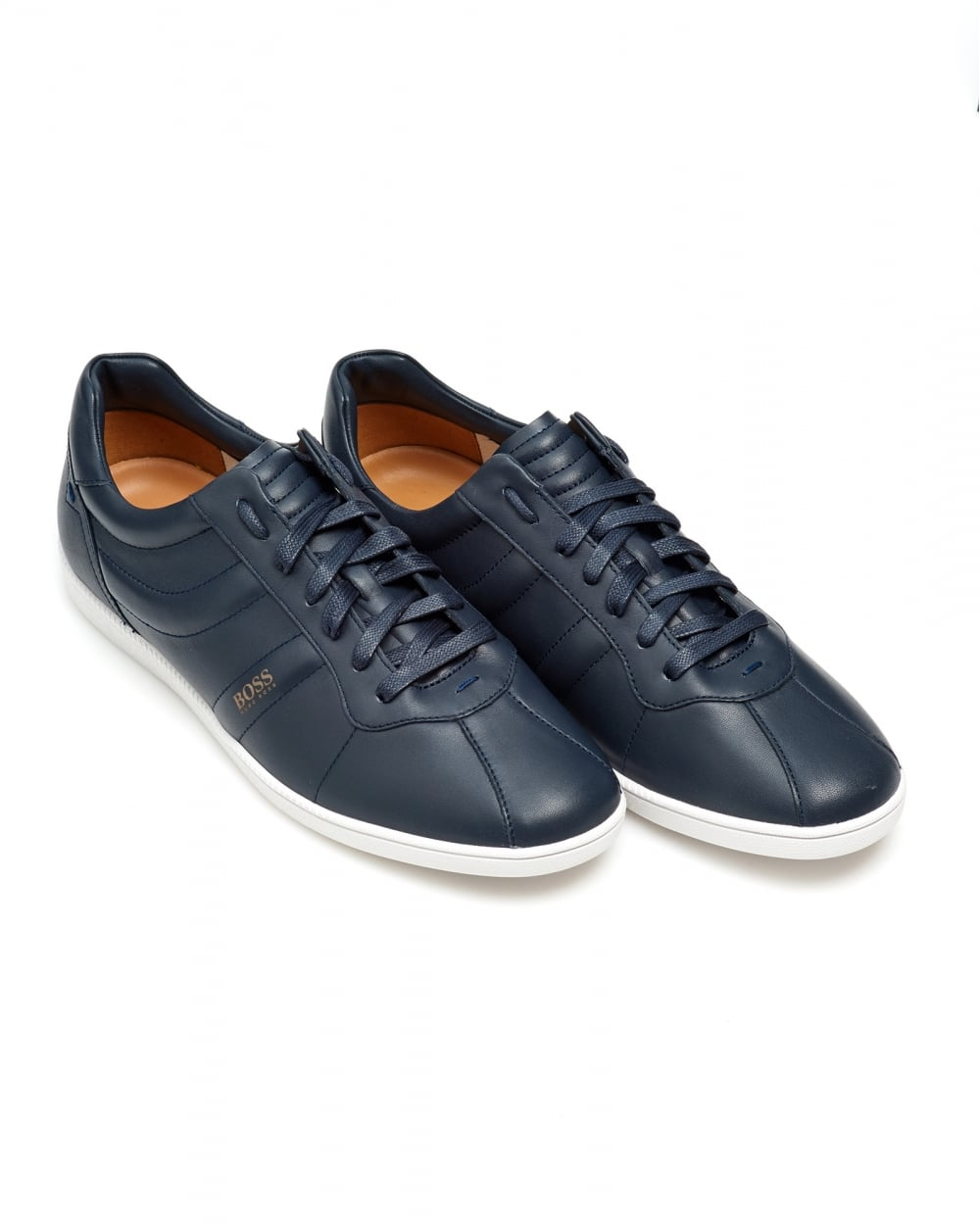 89473f5711daee Hugo Boss Orange Mens Rumba Ten Trainers, Dark Blue Leather Sneakers