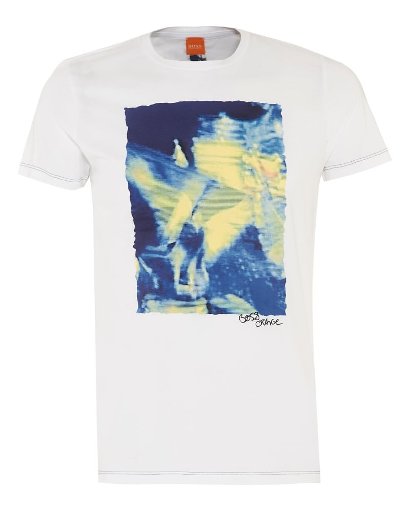 7b6919df5 Hugo Boss Orange Mens T-Shirt Thurner 1 White Graphic Tee