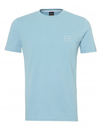 Mens Tales T-Shirt, Chest Patch Logo Sky Blue Tee