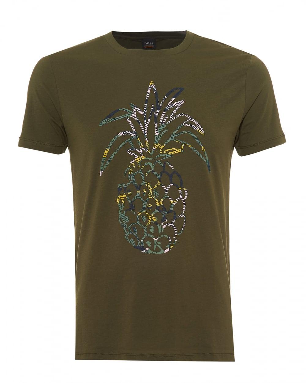 cd9079604 Hugo Boss Orange Mens Tauno 1 T-Shirt, Pineapple Print Olive Green Tee