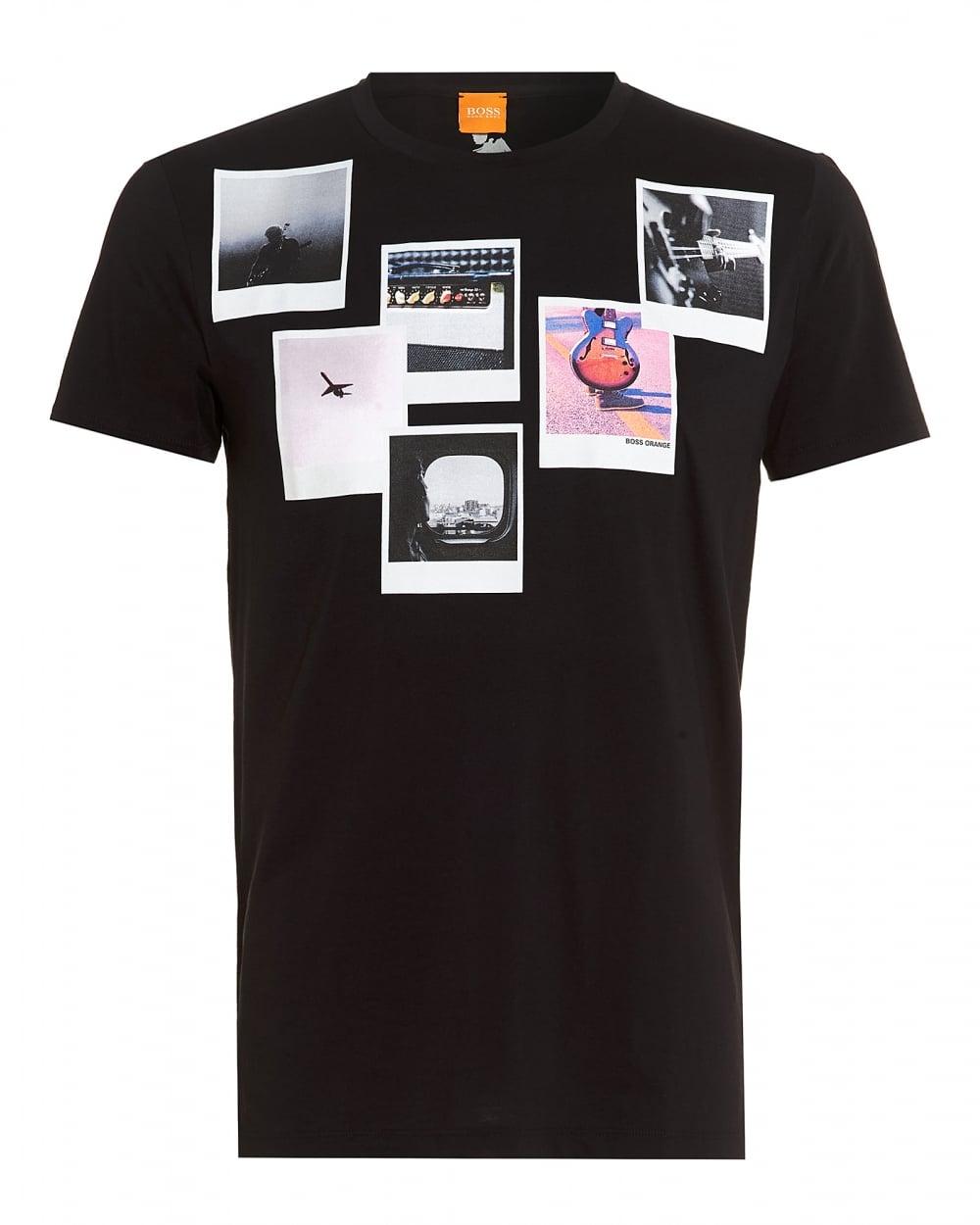 Hugo Boss Orange Mens Taxable 1 T Shirt Black Polariod Print Tee