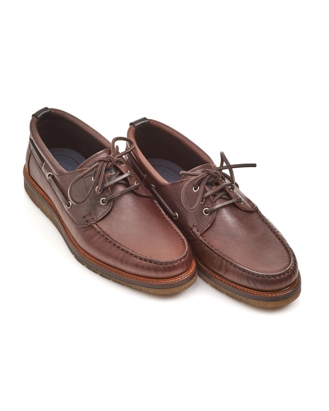 BOSS Casual Mens Tuned_Mocc Lace Rust Leather Moccasins