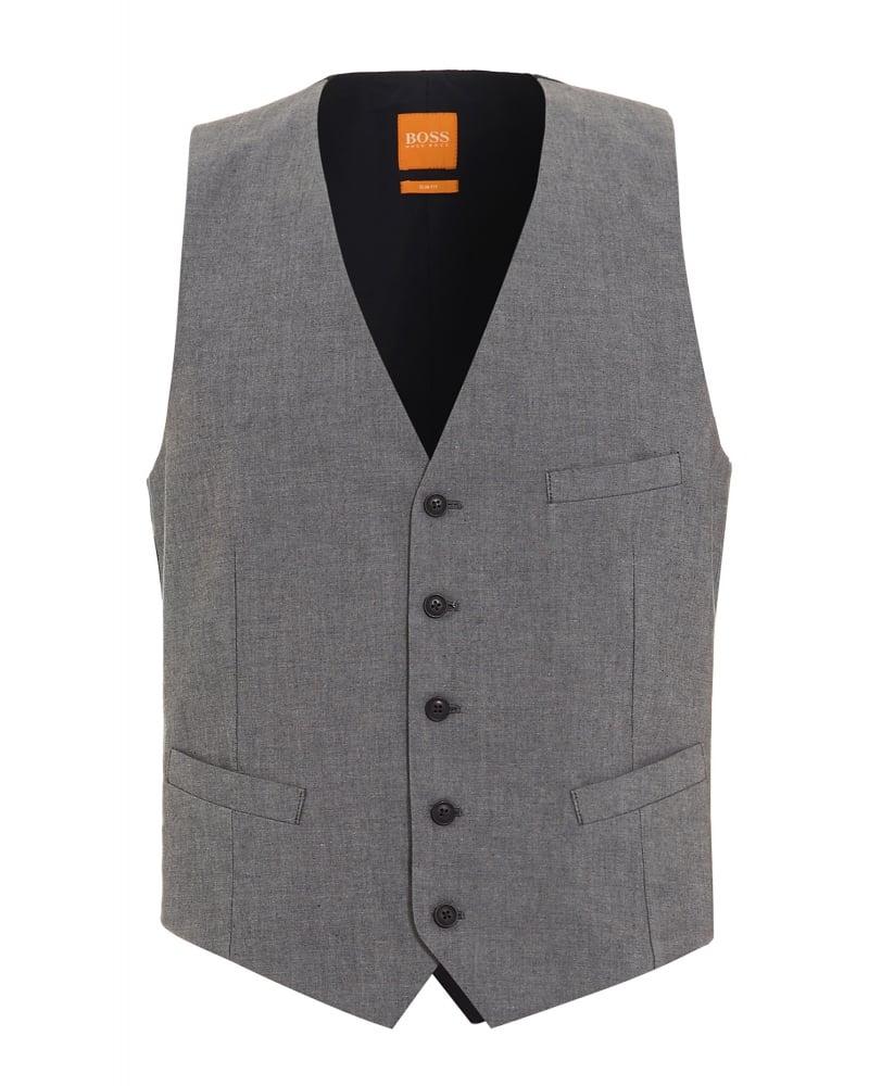 7c481ceb70f6 Hugo Boss Orange Mens Waistcoat Grey Bacer BS-W Slim Fit Waistcoat