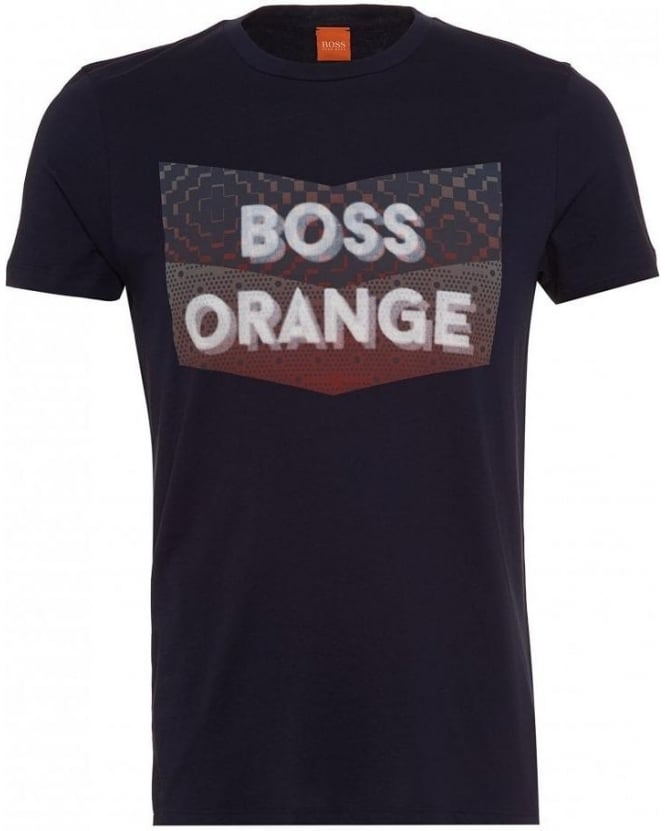 BOSS Casual T-Shirt, 'Tripolo 1' Logo Print Slim Fit Navy Tee