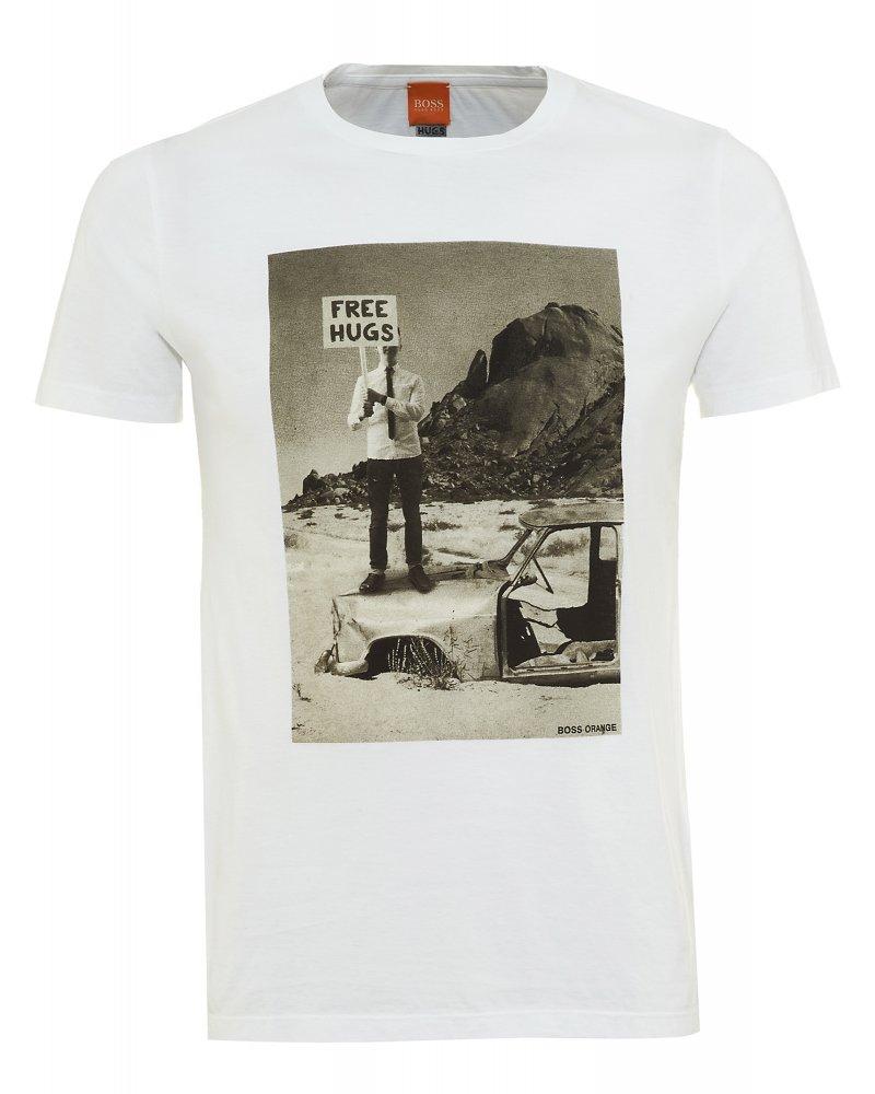 Hugo boss orange t shirt white free hugs print 39 tavey 5 39 tee for Casual white t shirt