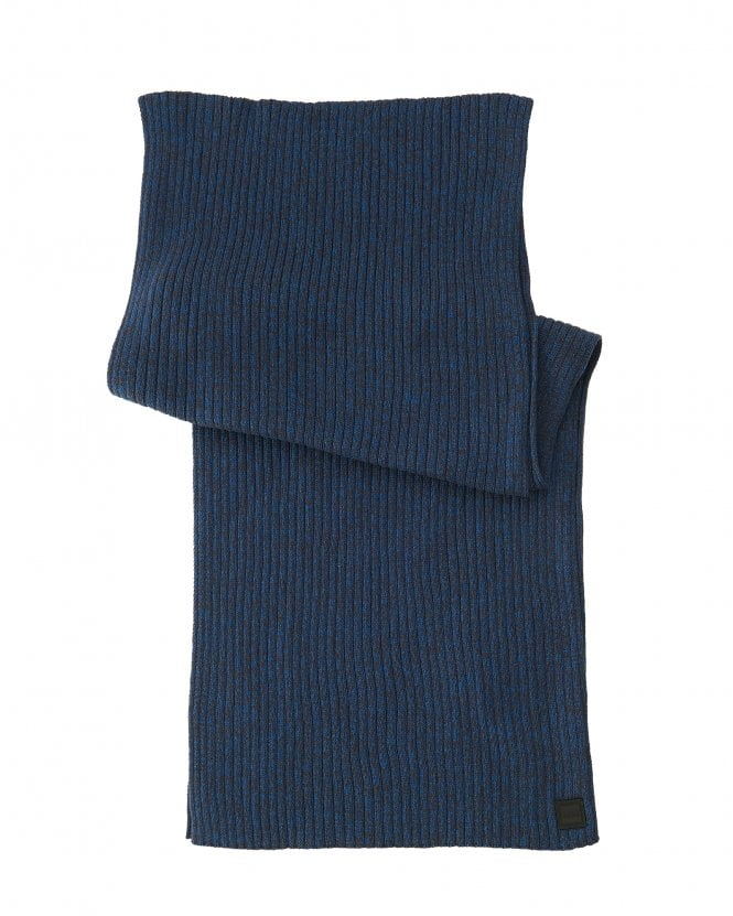 BOSS Mens Ariffeno Ribbed Moulin Cotton Blend Blue Scarf