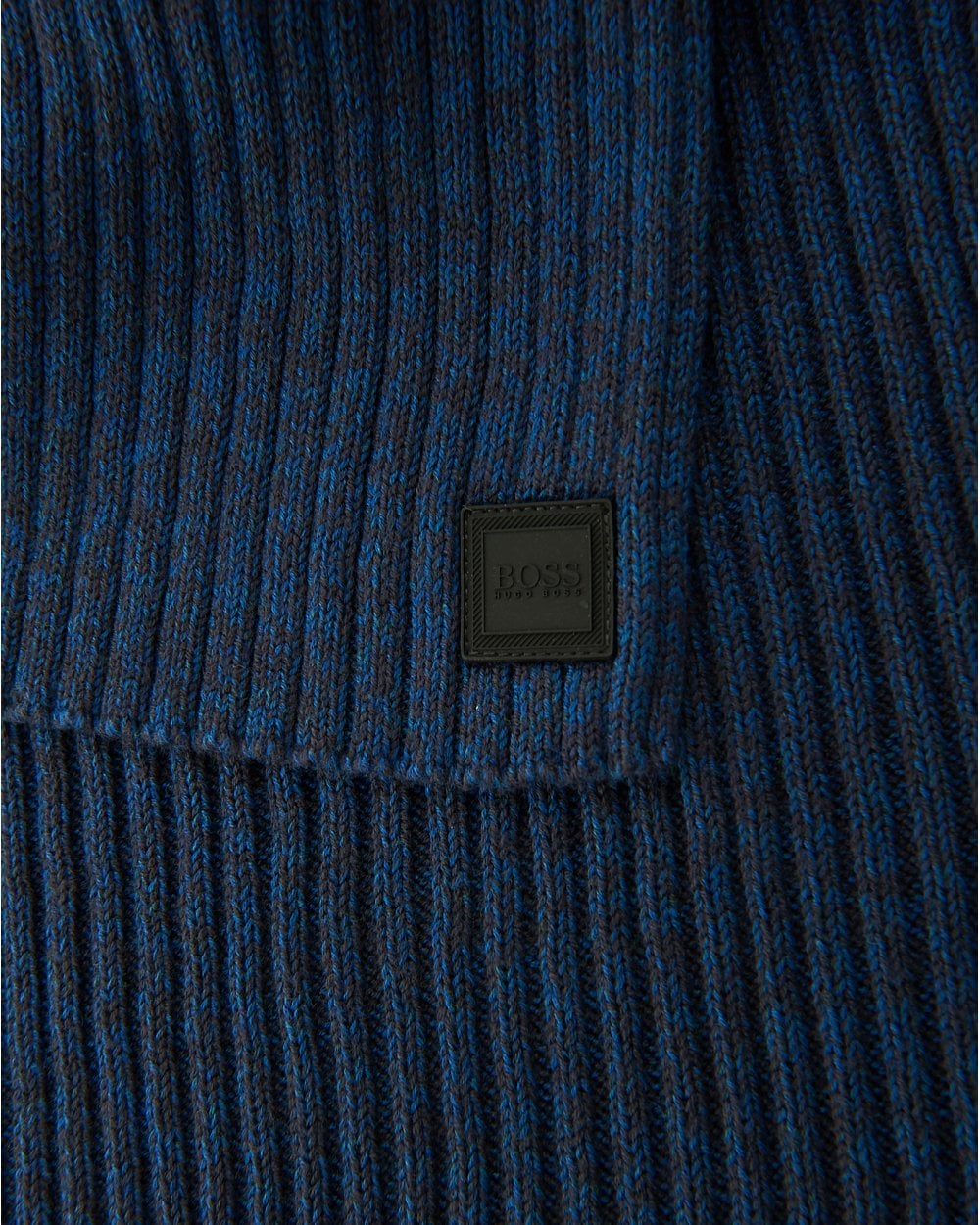 b7419e5f789 BOSS Casual Mens Ariffeno Ribbed Mouliné Cotton Blend Blue Scarf