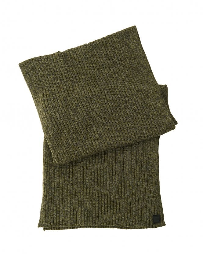 BOSS Mens Ariffeno Ribbed Moulin Cotton Blend Olive Green Scarf