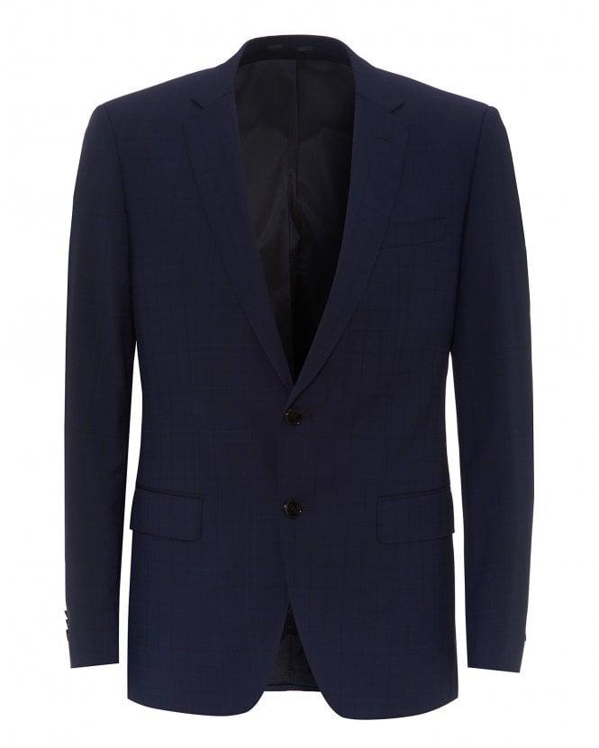 BOSS Mens Checked Slim Fit Blazer, Huge6 Dark Blue Jacket