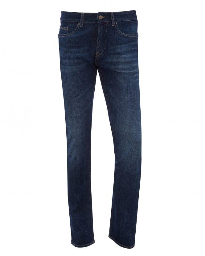 BOSS Mens Delaware3-1 Slim Fit Jeans, Blue Stretch Denim