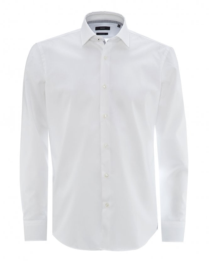 BOSS Mens Gelson Easy-Iron White Cotton Poplin Shirt