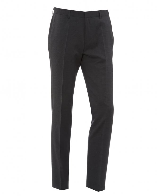 BOSS Mens Genius5 Grey Micro Checked Suit Trousers