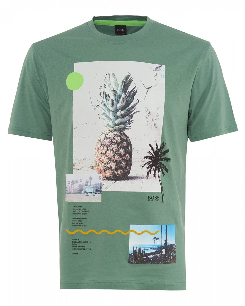 9c2e58903f9c BOSS Mens Green Pineapple T-Shirt, Teecher 3 Tee