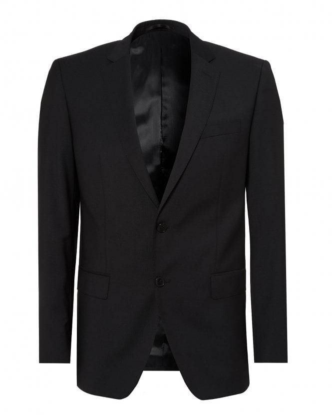BOSS Mens Huge Suit Jacket, Black Virgin Wool Blazer