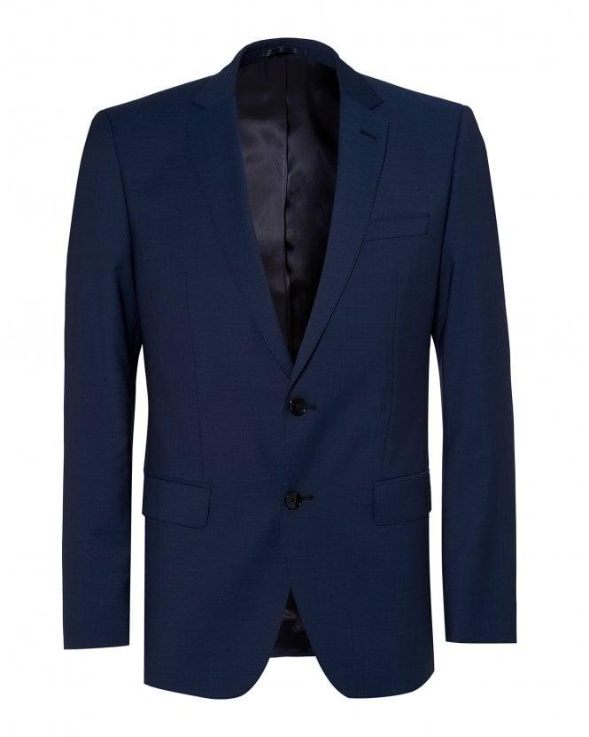 BOSS Mens Huge Suit Jacket, Blue Virgin Wool Blazer
