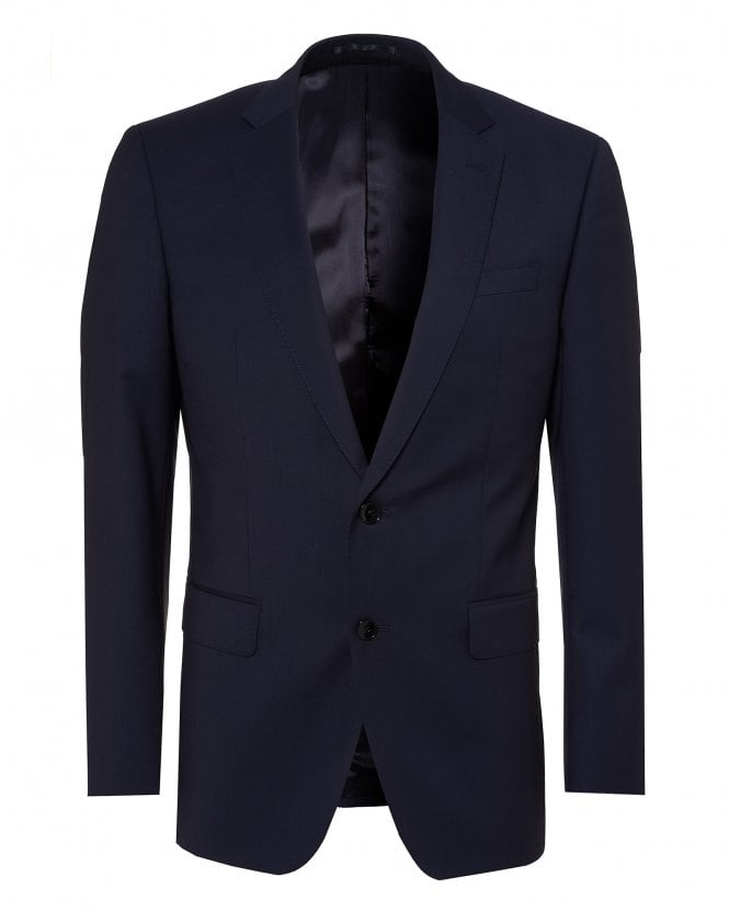 BOSS Mens Huge Suit Jacket, Navy Blue Virgin Wool Blazer