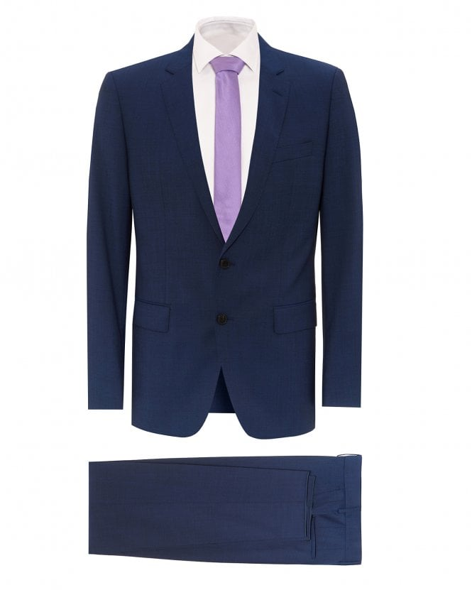 BOSS Mens Huge6/Genius5 Slim Fit Mid-Blue Suit