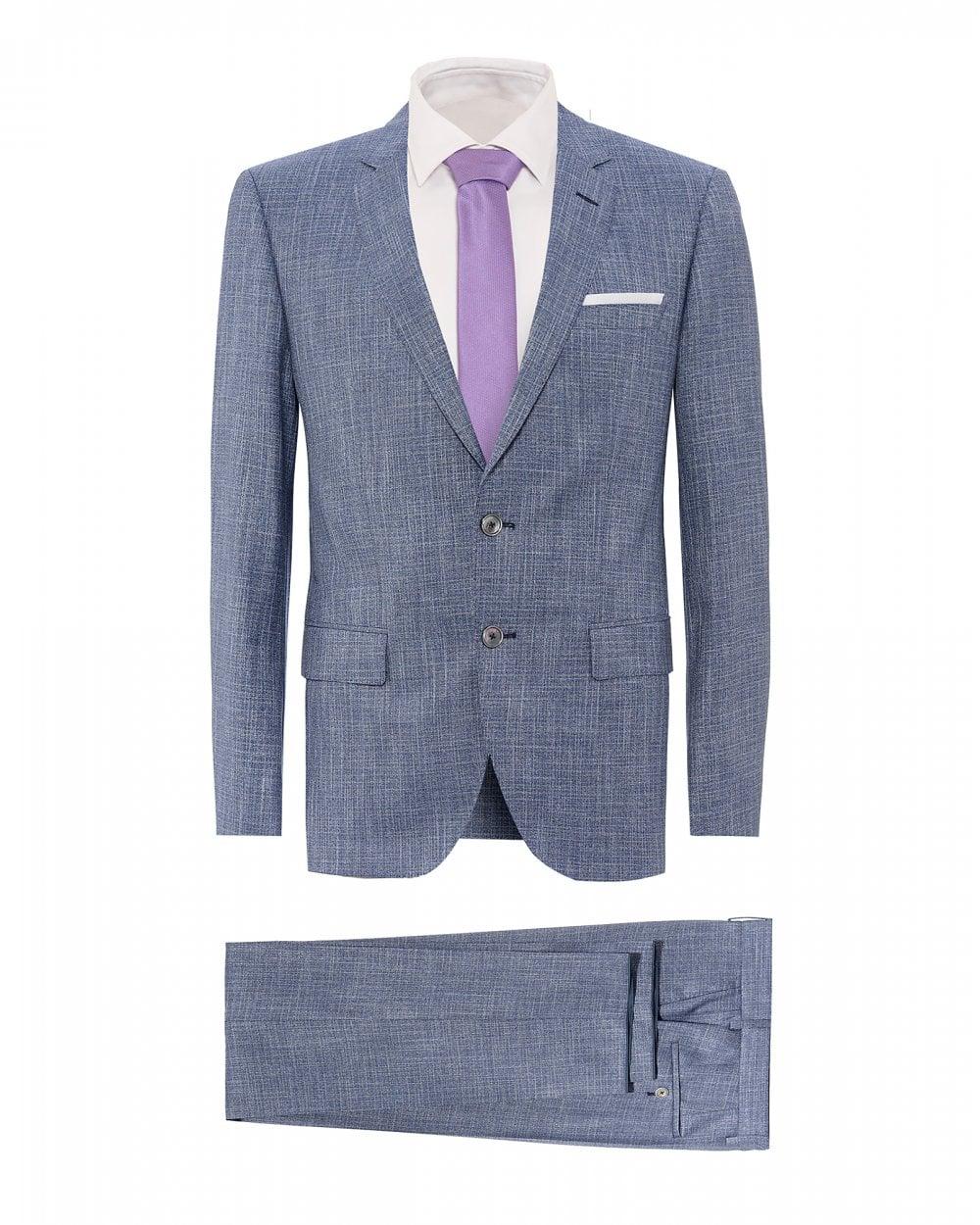 d7efb6e15 BOSS Mens Hutson5/Gander3 Blue Melange Slim Fit Sheen Suit