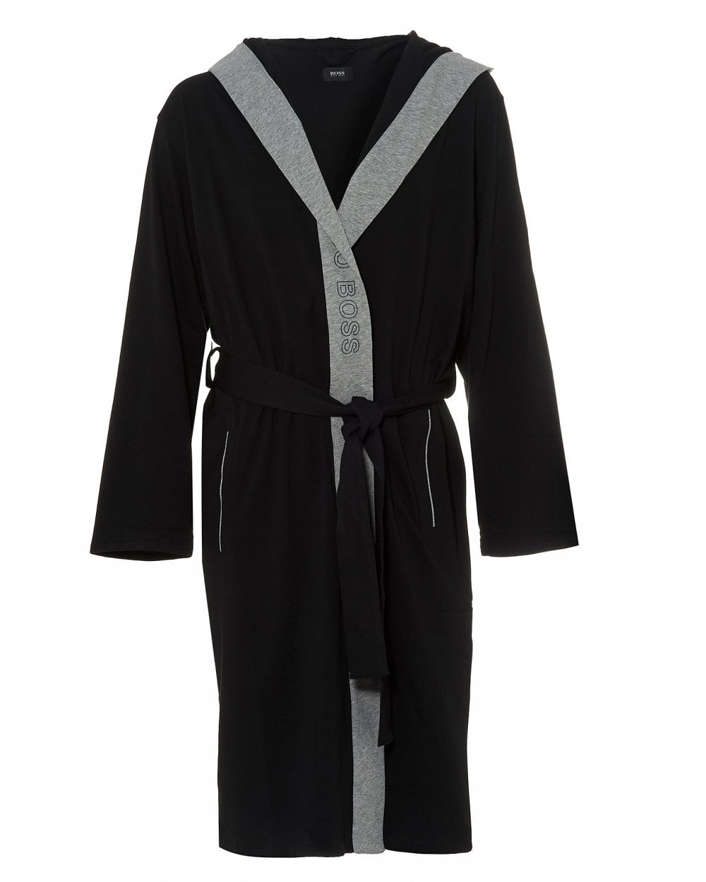 Men S Dressing Gowns Uk: BOSS Business Mens Identity Gown Black Hooded Dressing Gown